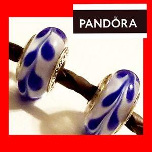 AUTH PANDORA X 2 BLUE SWIRL GLASS MURANO 925 CHARM